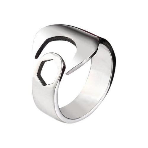 Silver Wrench Pinky Ring