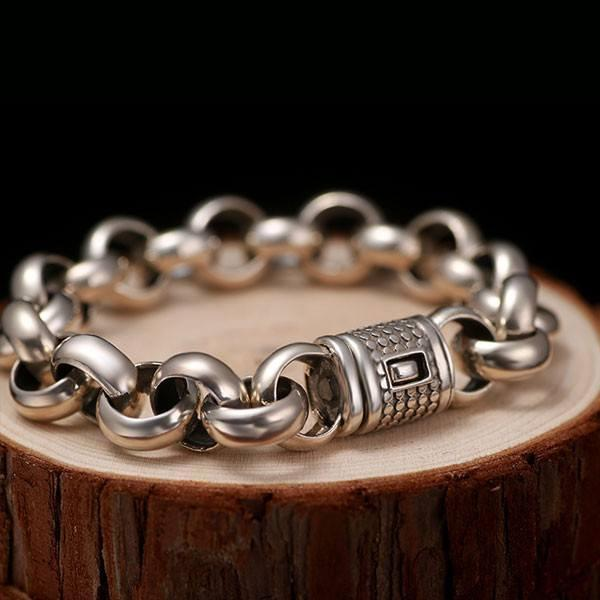Rolo Medium Solid Silver Chain Bracelet