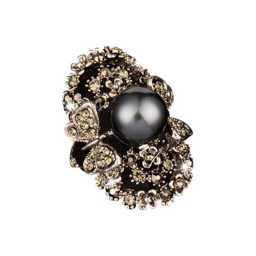 Antique Butterfly Garden Pearl Ring
