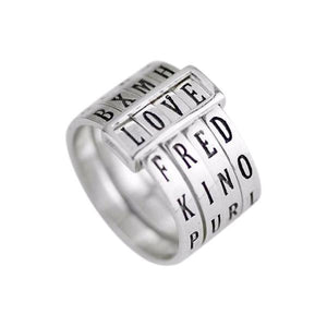 Word Puzzle Sterling Silver Rotatable Ring