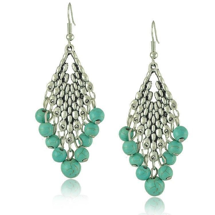 Tibetan Silver Turquoise Waterfall Earrings