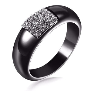 Black Ceramic Zircon Crystal Ring