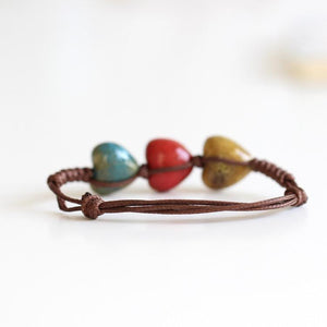 Boho Hearts Ceramic Rope Bracelet