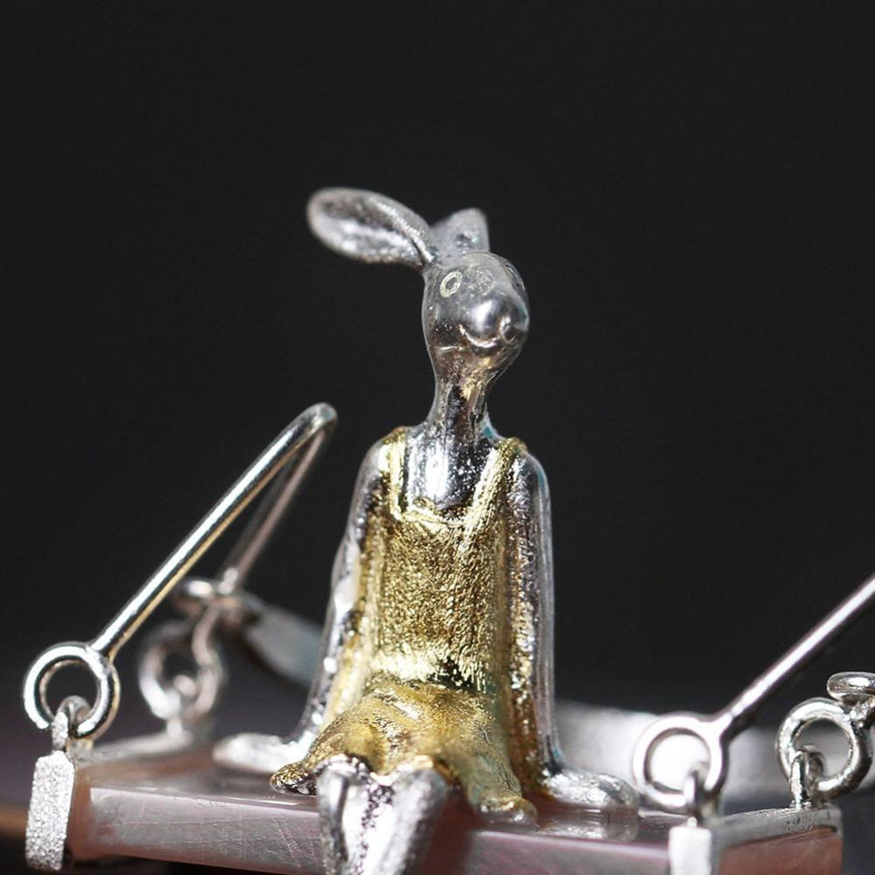 Lovely Lady Rabbit Silver Necklace Sweet