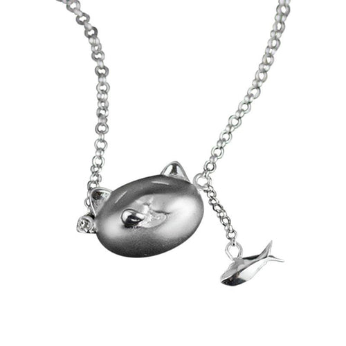 Happy Cat Lucky Fish Solid Silver Necklace