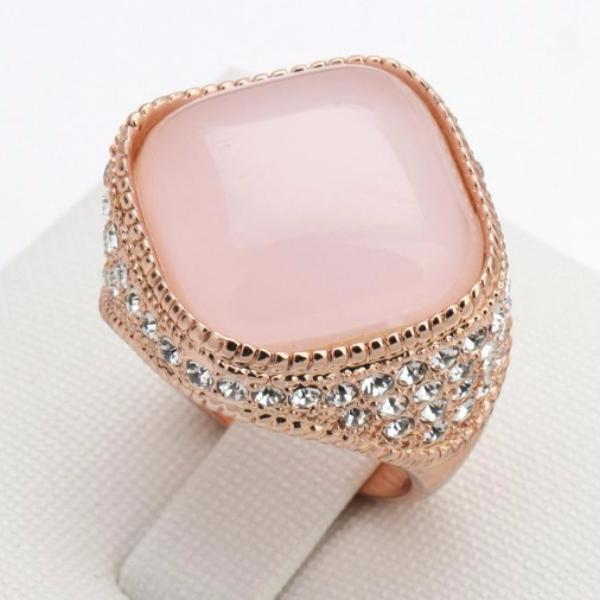 Tumbled Pink Opal Engagement Ring