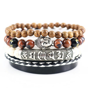 Brown Sand Beaded Buddha Bracelet
