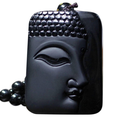 Natural Black Obsidian Carved Buddha Lucky Pendant Necklace