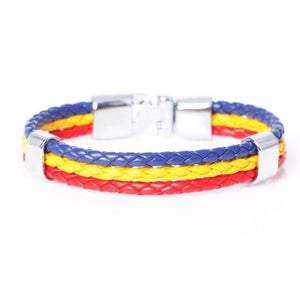 Support Romania Leather Bracelet