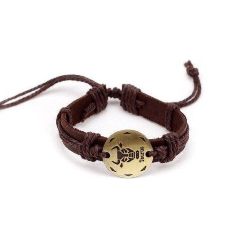 Vintage Adjustable Zodiac Sign Leather Bracelet [12 Variations]