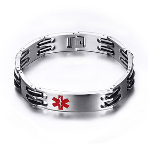 Punk Stainless Steel Engraved Medical Alert Bracelet