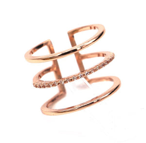 Micro Pavé Triple Layered Ring [Platinum or Rose Gold]