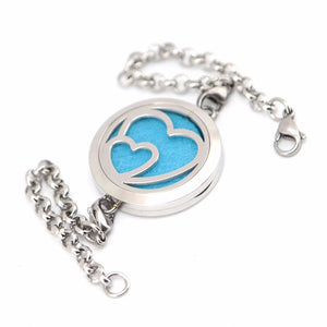 Love Hearts Stainless Steel Aromatherapy Bracelet