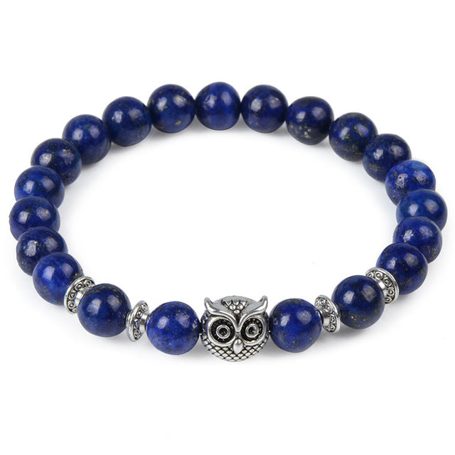 Owl Head Natural Stone Beaded Bracelet [4 Variations]