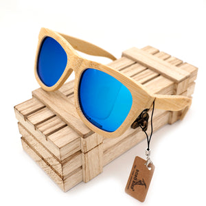 Cream Wayfarer Bamboo Wood Sunglasses [2 Variants]