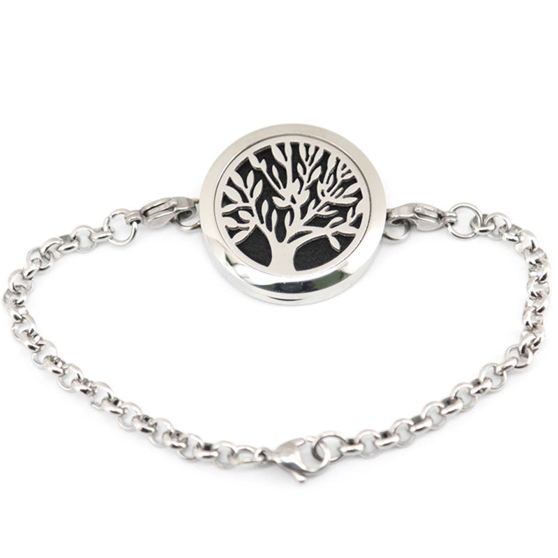Stainless Steel Tree Design Essential Oil Bracelet
