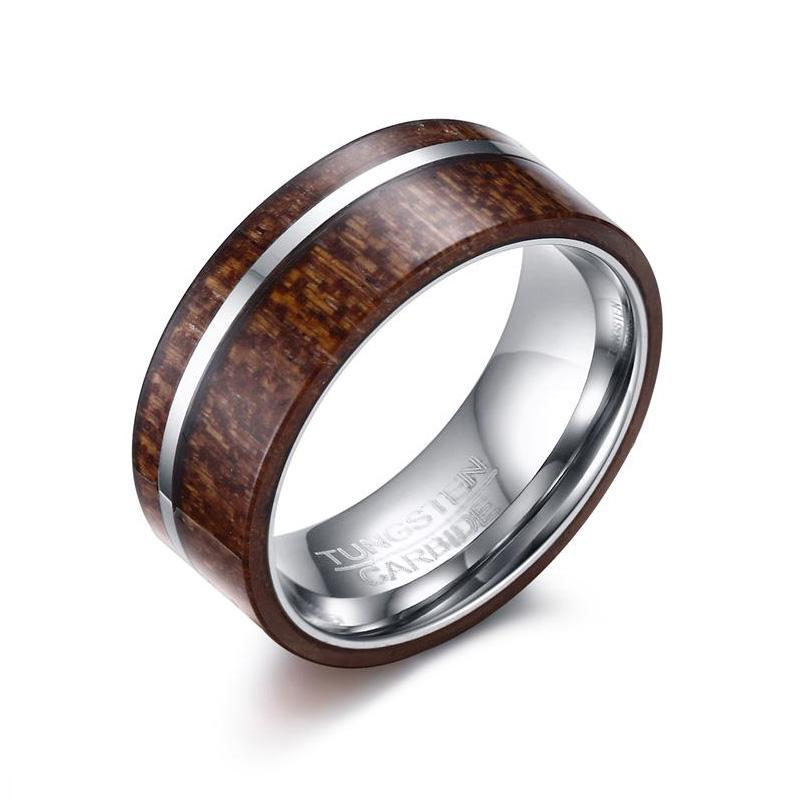 Polished Wood Tungsten Carbide Inlay Ring