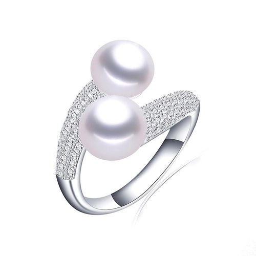 Genuine Silver Double Pearl Ring
