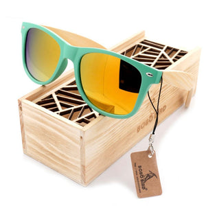 Pastel Green Wayfarer Bamboo Wood Sunglasses