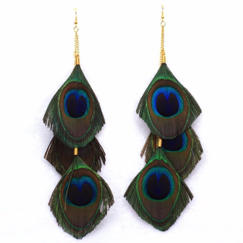 Three Layer Peacock Feather Earrings