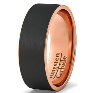 Black Brushed Tungsten Rose Gold Ring