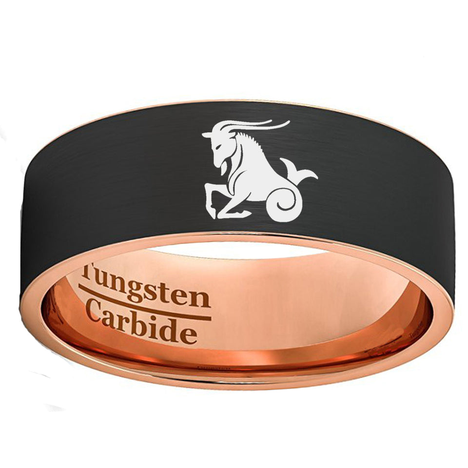 Black and Rose Gold Capricorn Zodiac Tungsten Carbide Ring