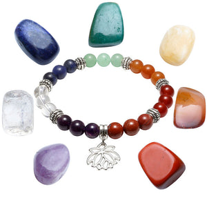 Seven Chakra Beaded Polished Bracelet with 7 Reiki Stones [6 Variants]