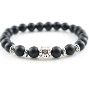 Silver Lucky Charms Matte Onyx Beaded Bracelet [19 Variations]