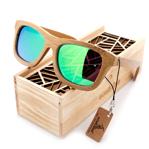 Sand Brown Wayfarer Bamboo Wood Sunglasses [6 Variants]