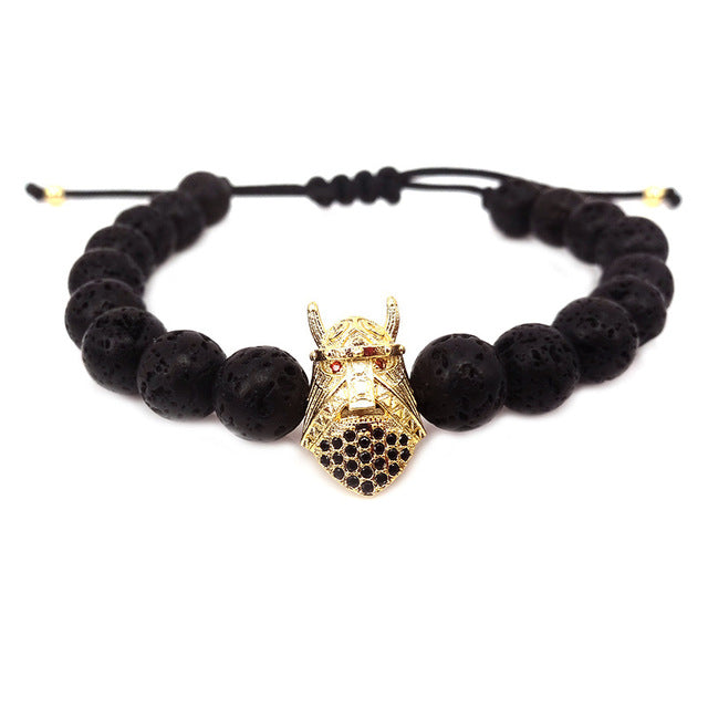 Viking Helmet Black Lava Beads Bracelet