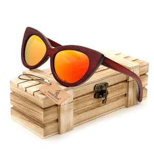 Cat Eye Red Bamboo Wood Sunglasses [3 Variants]