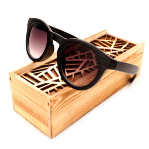 Gradient Ebony Cat Eye Bamboo Wood Sunglasses