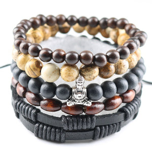 Dark Punk Bead Leather Stack Bracelets [19 Variations]