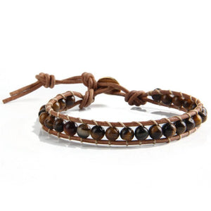 Natural Stone Beads Leather Cord Wrap Bracelets [19 Variations]