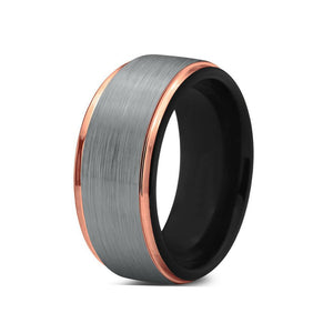 Brushed Silver Black Interior Tungsten Rose Gold Ring
