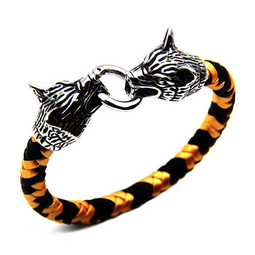 Wolf Head Punk Buckle Two Colored Braided Bracelet