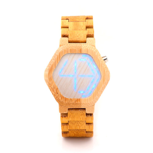 Digital Hexagon Bamboo Watch with Folding Link Wristband