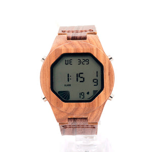 Digital Wood Watch with Leather Wristband