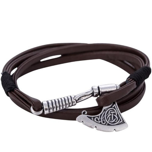 Battle Axe Wraparound Leather Bracelets [2 Variants]