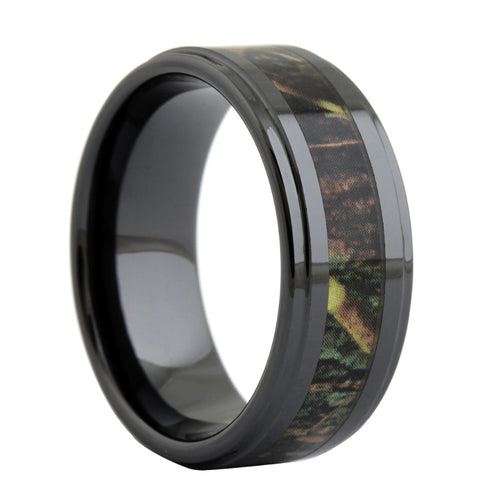 Black Ceramic Ring Wooden Camo Inlay
