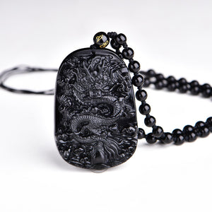 Black Obsidian Carving Dragon Lucky Pendant Necklace