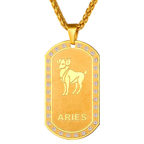 Gold Zodiac Dog Tag Pendant Necklace [12 signs]