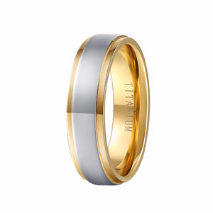 Gold Titanium Unisex Ring