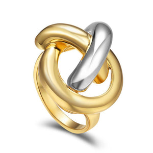 Silver Gold Bowline Knot Ring