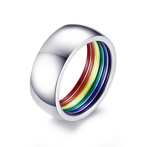 Stainless Steel Rainbow Interior LGBT Ring