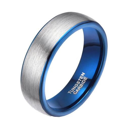 Brushed Silver Tungsten Band with Electric Blue Interior