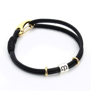 Black Leather Silver Zodiac Signs Charm Bracelet [12 Variants]