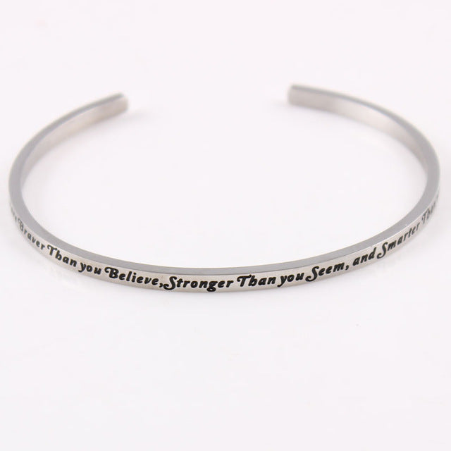 Silver Hand-Stamped Uplifting Mantra Quotes Bangle Bracelet