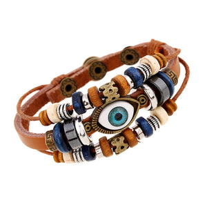 Evil Eye Charm Snap Button Leather Bracelets [7 Colors]