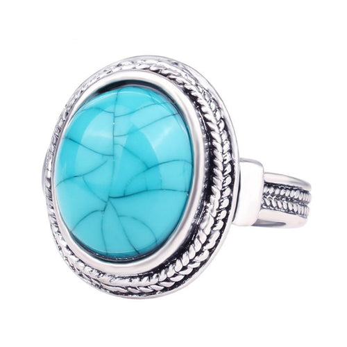 Turquoise Stone and Sterling Silver Oval Ring